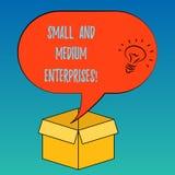 Empresas pequeñas y medias del texto de la escritura Concepto que significa el crecimiento de la PME de la nueva idea del analysi libre illustration