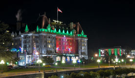 The Empress Hotel with christmas illumination at night. The Fairmont Empress Hotel with Christmas illumination at night in downtown Victoria, British Columbia Stock Images
