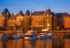 Empress Hotel and Inner Harbour, Victoria, BC at sunset Royalty Free Stock Photo