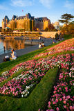 Empress Hotel and Inner Harbour, Victoria, BC at sunset Stock Photo