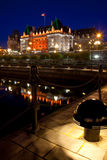 Empress Hotel at night, Victoria, BC Stock Photo