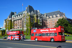 The Empress hotel. VICTORIA BC CANADA JUNE 19 2015:The Empress hotel is a symbol for the city itself. It has been designated a National Historic Site due to its Royalty Free Stock Photography
