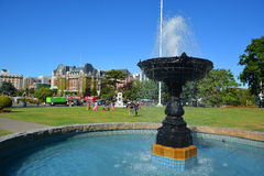 The Empress hotel. VICTORIA BC CANADA JUNE 19 2015: The Empress hotel is a symbol for the city itself. It has been designated a National Historic Site due to its Royalty Free Stock Photos