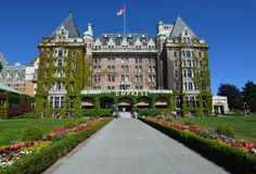 The Empress hotel. VICTORIA BC CANADA JUNE 19 2015: The Empress hotel is a symbol for the city itself. It has been designated a National Historic Site due to its Royalty Free Stock Image