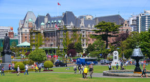 The Empress hotel. VICTORIA BC CANADA JUNE 19 2015:The Empress hotel is a symbol for the city itself. It has been designated a National Historic Site due to its Royalty Free Stock Photos