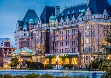 The Empress Hotel, Victoria BC at night in March Stock Photos