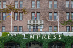 Empress Hotel, Victoria, British Columbia, Canada. Ivy covered awning with signage at the front of The Empress Hotel, Victoria, British Columbia, Canada with Stock Photo