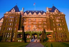 Empress Hotel, Victoria at sunset Royalty Free Stock Images