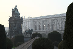 Empress, queen Maria-Theresia monument, Vienna. The photo is executed in the evening. Sunset light.Fog stock photo