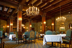 The Empress Room at The Empress Hotel. VICTORIA, BC - CIRCA JULY 2014 - The Empress Room at The Fairmont Empress Hotel notably the most picturesque dining room stock images