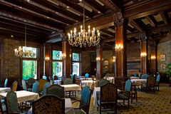 The Empress Room at The Empress Hotel. VICTORIA, BC - CIRCA JULY 2014 - The Empress Room at The Fairmont Empress Hotel notably the most picturesque dining room Stock Photography