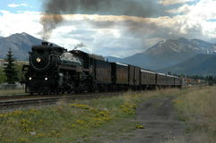 The Empress Steam locomotive. A vintage steam train rolls through town Stock Photo