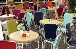 Empty. Tables and chairs at a terrace Royalty Free Stock Photos