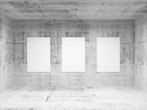 Empty abstract art gallery concrete interior vector illustration
