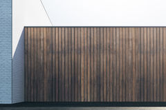 Empty brown wood wall. Empty abstract brown wood exterior wall with sunlight and copy space. Mock up, 3D Rendering Royalty Free Stock Photography