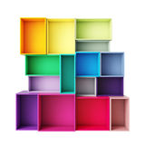 Empty abstract colorful shelves isolated on white background Royalty Free Stock Photography