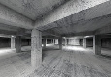 Empty abstract industrial concrete interior. 3d. Illustration Stock Photo