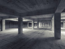 Empty abstract industrial underground concrete interior. 3d Stock Image