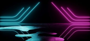 Empty Abstract Sci Fi Modern Futuristic Dark Room With Black Background And Grunge Reflective Wet Concrete With Neon Glowing. Purple And Blue Triangle Shaped stock illustration