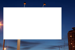Empty ad roadside billboards at evening in city. Royalty Free Stock Photo