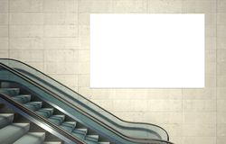 Empty advertising billboard and escalator stairs Stock Images