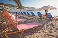 Empty Agia Marina beach, Greece. Empty Agia Marina beach at sunrise in Aegina Island, Greece Royalty Free Stock Photography