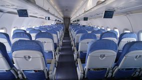 Empty aircraft cabin during flight.  stock footage