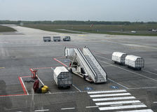Empty airfield of Eindhoven Airport waiting for airplane and pas Royalty Free Stock Photos