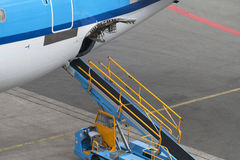 Empty airliner conveyor Stock Images