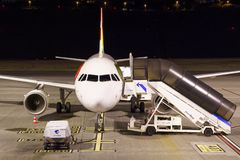 Empty airplane in the night at Funchal airport on Madeira island. Funchal, Portugal - September 21, 2018: Empty airplane in the night at Funchal airport on royalty free stock photography