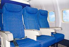 Empty airplane seats. Royalty Free Stock Image