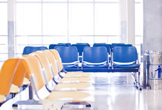 Empty airport chairs Royalty Free Stock Photo
