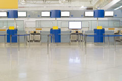 Empty airport inside, tickets Royalty Free Stock Photo