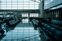 Empty airport lounge with empty seats in lounge area Royalty Free Stock Photo