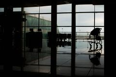 Empty airport terminal hall stock photo