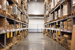 Empty aisle at the home improvement warehouse Royalty Free Stock Photo