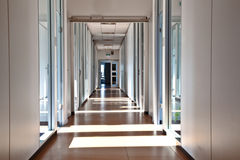 Empty aisle in a modern office building Royalty Free Stock Image