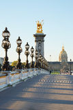 Empty Alexander III bridge in Paris in the early morning Royalty Free Stock Photos