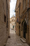 Empty alley and church at Dubrovnik's Old Town Stock Image