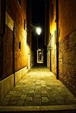 Empty Venice Alley at Night. An empty alley somewhere in the city of Venice, Italy royalty free stock photos