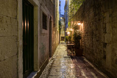 Empty alley at Split's old town at dark Stock Images