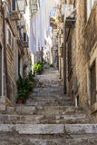 Empty alley and stairs at Dubrovnik's Old Town Royalty Free Stock Image
