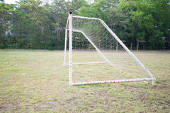 Empty amateur football goal. Posts and nets Royalty Free Stock Photos