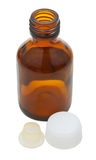 Empty amber glass pharmacy bottle isolated Royalty Free Stock Photo