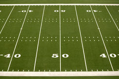 Empty American Football Field. Showing 40 and 50 yard lines Royalty Free Stock Photos