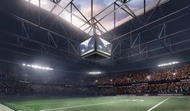 Empty american football stadium 3D in light rays render. Lights at stadium 3d render, evening sky Royalty Free Stock Photos