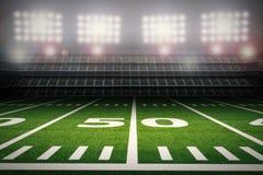 Empty american football stadium at night vector illustration