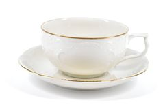 Empty antique porcelain low cup. Royalty Free Stock Photography
