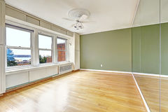 Empty apartment interior in old residential building with bay vi Royalty Free Stock Image
