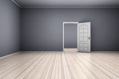 Empty Apartment. A empty apartment with a open door. 3D illustration Stock Photography